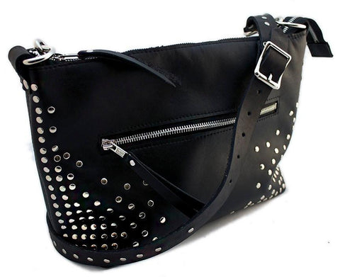 Calgary handmade leather purse with many chrome rivets and shoulder strap.