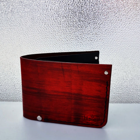Hand Dyed Billfold Wallet - Crimson