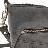 Grey fringed nubuck leather shoulder bag