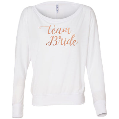 Team Bride - Rose Gold - Off Shoulder Long sleeve Flowy Wide Neck Tee - Bella Brand Shirt - 6 Colors Available Plus Size XS-2XL - MADE IN THE USA
