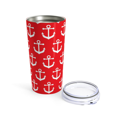 White Anchor on Red Stainless Steel Tumbler Travel Mug 20OZ