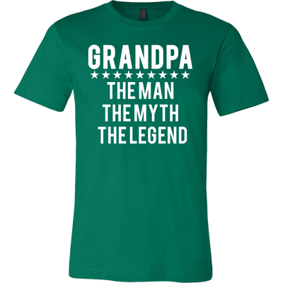 GRANDPA - Man|Myth|Legend - Tee Mens T-shirt - Canvas - 13 colors available PLUS Size S-3XL MADE IN THE USA