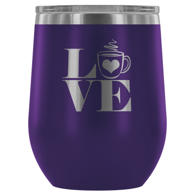 Love heart Coffee - 12 oz Stemless Wine Tumbler | Etched / Engraved Stainless Steel Mug Hot/Cold Cup - 12 Colors Available