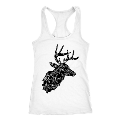 Holiday Snowflake Xmas Reindeer - Ladies Racerback Christmas Tank Top Women - 5 colors available - PLUS Size XS-2XL MADE IN THE USA