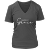 Saved by Grace - Christian Womens V-Neck 7 Colors Available Plus Size S-4XL - MADE IN THE USA