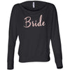 Bride - (Pink Rose) Off Shoulder Long sleeve Flowy Wide Neck Tee - Bella Brand Shirt - 6 Colors Available Plus Size XS-2XL - MADE IN THE USA