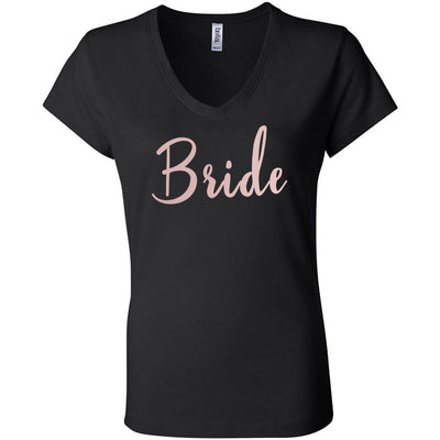 Bride - Bella + Canvas - Women's Short Sleeve Jersey V-Neck T-shirt -8 Colors Available Plus Size S-2XL - MADE IN THE USA