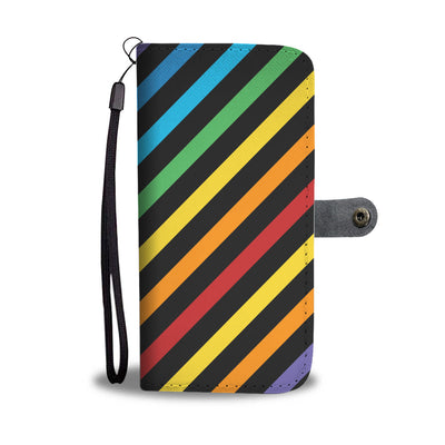 Rainbow Pride Slanted Stripes Cell Phone Wallet Case