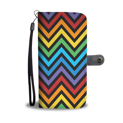 Rainbow Pride Slanted Stripes Zig Zag Cell Phone Wallet Case