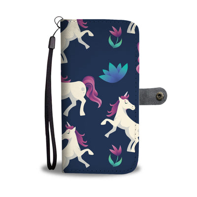 Unicorn Floral Print Cell Phone Wallet Case