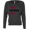 BABE. DOG MOM. BOSS. Off Shoulder Long sleeve Flowy Wide Neck Tee - Bella Brand Shirt - 4 Colors Available Plus Size XS-2XL - MADE IN THE USA