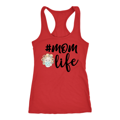#momlife character Ladies Racerback Mom Life Tank Top Women - 5 colors available - PLUS Size XS-2XL MADE IN THE USA