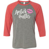 Lipstick Hustler (pink Lips) - Unisex Three-Quarter Sleeve Baseball T-Shirt - Bella & Canvas - 8 Colors Available Plus Size XS-2XL - MADE IN THE USA