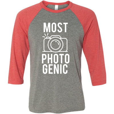 MOST PHOTOGENIC - Photography - Unisex Three-Quarter Sleeve Baseball T-Shirt - Bella & Canvas - 8 Colors Available Plus Size XS-2XL - MADE IN THE USA