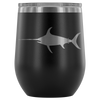 Swordfish Sportsman Fish - 12 oz Stemless Wine Tumbler | Etched / Engraved Stainless Steel Mug Hot/Cold Cup - 12 Colors Available