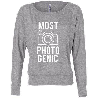 MOST PHOTOGENIC - Photography - Off the Shoulder Long sleeve Flowy Feminine Wide Neck Tee - Bella Brand Shirt - 7 Colors Available Plus Size XS-2XL - MADE IN THE USA