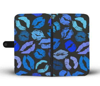 Shades of Blue Lips on Black Cell Phone Wallet Case