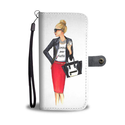 Lipstick & Hustle Lady Cell Phone Wallet Case