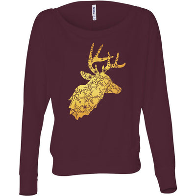 Holiday Snowflake Christmas Reindeer Xmas - Off Shoulder Long sleeve Flowy Wide Neck Tee - Bella Brand Shirt - 8 Colors Available Plus Size XS-2XL - MADE IN THE USA