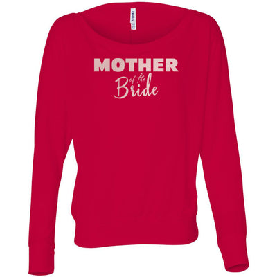 Mother of the Bride - (Pink Rose) Off Shoulder Long sleeve Flowy Wide Neck Mom Tee - Bella Brand Shirt - 6 Colors Available Plus Size XS-2XL - MADE IN THE USA