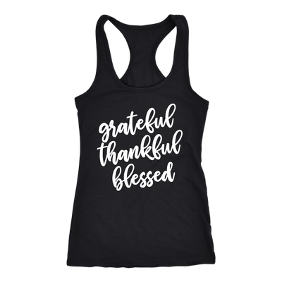 grateful thankful blessed - Ladies Racerback - Mom Tank Top Women - 5 colors available - PLUS Size XS-2XL MADE IN THE USA