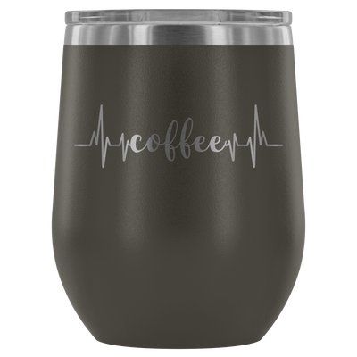 Coffee Heartbeat - 12 oz Stemless Wine Tumbler | Etched / Engraved Stainless Steel Mug Hot/Cold Cup - 12 Colors Available