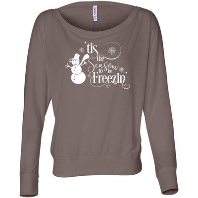 Tis the Season to be Freezin Xmas Off Shoulder Long sleeve Flowy Wide Neck Tee - Bella Brand Shirt - 6 Colors Available Plus Size XS-2XL - MADE IN THE USA