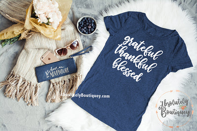 grateful thankful blessed - Ladies Triblend Tee Women - 5 colors available - PLUS Size S-2XL MADE IN THE USA