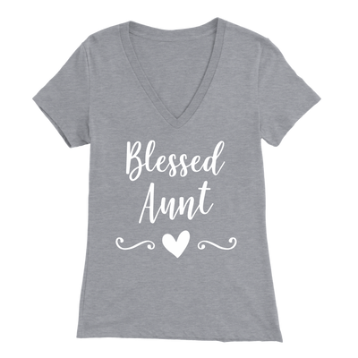 Blessed Aunt - V-neck Women T-shirt Tee - 9 colors available PLUS Size S-2XL MADE IN THE USA