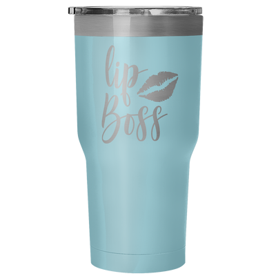 LipBoss 30 oz Travel Tumbler | Etched / Engraved Stainless Steel Mug Hot/Cold Cup - 7 Colors Available