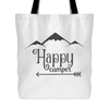 Happy Camper Print Canvas Tote Shopping Bag