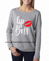LipBoss Lipstick Kiss Long sleeve T-shirt 6 Colors Available Plus Size Tee S-2XL - MADE IN THE USA