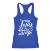 jesus loves me - Ladies Racerback Bible Tank Top Christian Women - 5 colors available - PLUS Size XS-2XL MADE IN THE USA