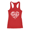 We love because he first loved us - Ladies Racerback Bible Scripture Christian Tank Top Women  - PLUS Size available - MADE IN THE USA