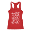 she is clothed in strength and dignity - Ladies Racerback Bible Tank Top Christian Women - 5 colors available - PLUS Size XS-2XL MADE IN THE USA