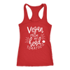 Vegan from my head tomatoes- Ladies Racerback Southern Tank Top Women - 5 colors available - PLUS Size XS-2XL MADE IN THE USA