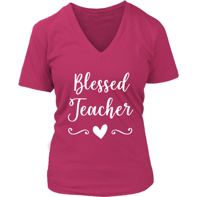 blessed teacher - Ladies V-neck T-shirt 7-colors Plus Size Available S-4XL - MADE IN THE USA
