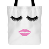 Lips & Lashes Print Canvas Tote 18x18 Shopping Bag - MADE IN THE USA