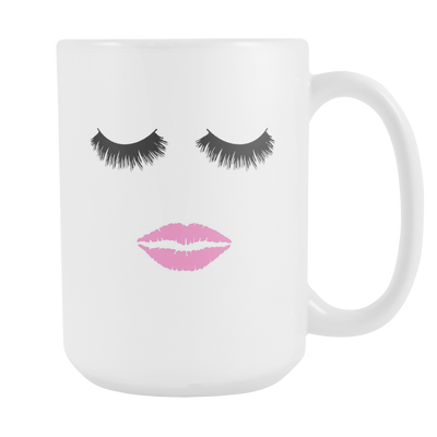 Lips & Lashes 15 oz Coffee Mug / Big Tea Cup