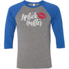 Lipstick Hustler (red Lips) - Unisex Three-Quarter Sleeve Baseball T-Shirt - Bella & Canvas - 8 Colors Available Plus Size XS-2XL - MADE IN THE USA