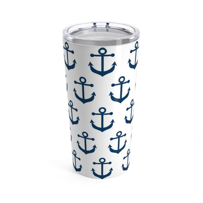 Blue Anchor on White Stainless Steel Tumbler Travel Mug 20OZ