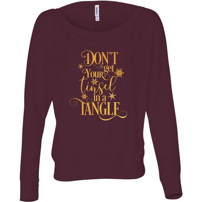 Don't Get your Tinsel in a Tangle - Off Shoulder Long sleeve Flowy Wide Neck Tee - Bella Brand Shirt - 7 Colors Available Plus Size XS-2XL - MADE IN THE USA