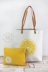 Lemon Beach Tote Bag | Oversized Beach Bag + Waterproof Bikini Bag Set | Beach Tote Bag | Big Canvas Beach Bag | Chef Gift