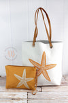 Starfish Beach Tote Bag | Oversized Beach Bag + Waterproof Bikini Bag Set | Beach Tote Bag | Big Canvas Beach Bag | Beach Lover Gift