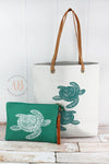 Sea Turtle Beach Tote Bag | Oversized Beach Bag + Waterproof Bikini Bag Set | Beach Tote Bag | Big Canvas Beach Bag | Turtle Lover Gift