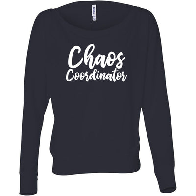 Chaos Coordinator - Off the Shoulder Long sleeve Flowy Feminine Wide Neck Mom Tee - Bella Brand Shirt - 7 Colors Available Plus Size XS-2XL - MADE IN THE USA
