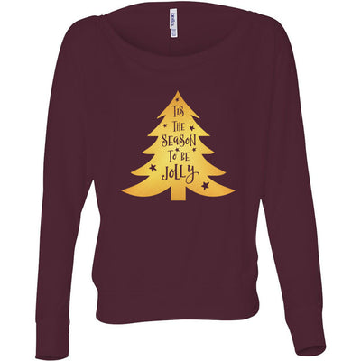 Tis the Season to be Jolly - Gold Christmas Tree - Off Shoulder Long sleeve Flowy Wide Neck Tee - Bella Brand Shirt - 8 Colors Available Plus Size XS-2XL - MADE IN THE USA