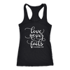 love never fails - Ladies Racerback Bible Tank Top Christian Women - 5 colors available - PLUS Size XS-2XL MADE IN THE USA