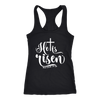 He is risen - Ladies Racerback Bible Tank Top Christian Women - 5 colors available - PLUS Size XS-2XL MADE IN THE USA