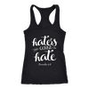 Haters Gonna Hate Proverbs 9:8 - Ladies Racerback Christian Scripture Tank Top Women - 5 colors available - PLUS Size XS-2XL MADE IN THE USA